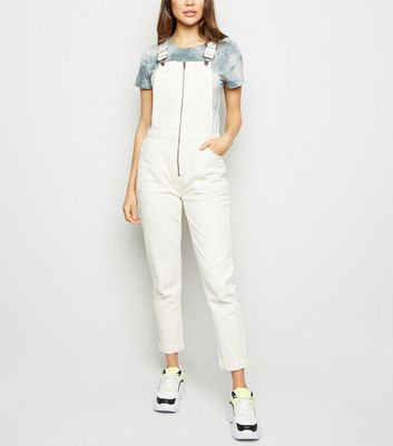 Off White Zip Front Denim Dungarees