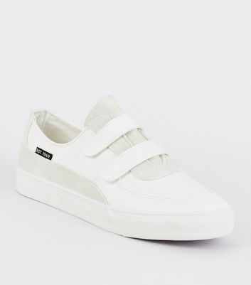 White Leather-Look Rip Tape Trainers