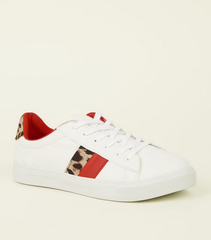 White Leopard Print Red Stripe Lace-Up Trainers  9fda1fb8f4682