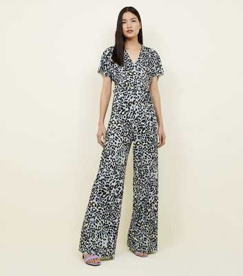 Tall Grey Leopard Print Wide Leg Jumpsuit
