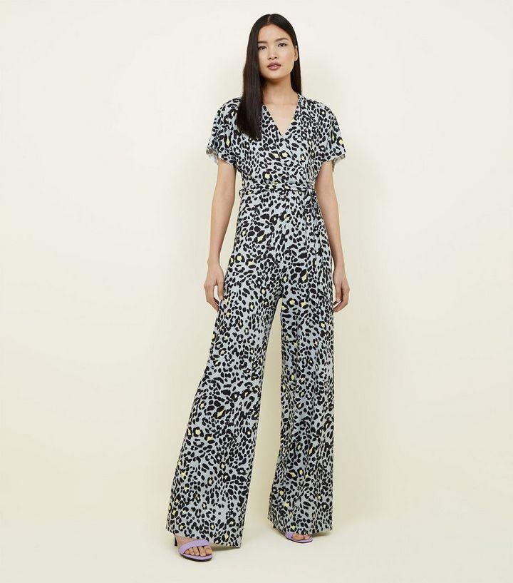 31fc3cc352c Tall Grey Leopard Print Wide Leg Jumpsuit