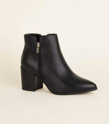 Wide Fit Black Leather-Look Pointed Notch Ankle Boots