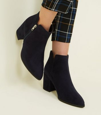 Wide Fit Navy Suedette Notch Ankle