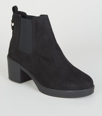 Black Ring Back Suedette Chelsea Boots