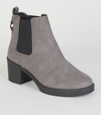 Grey Ring Back Suedette Chelsea Boots