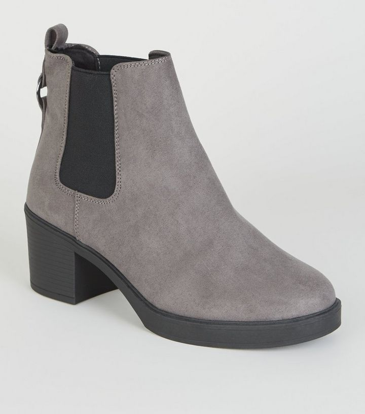 4c75399d71c Wide Fit Grey Ring Back Chelsea Boots