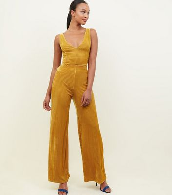 Mustard Ribbed Velvet Trousers
