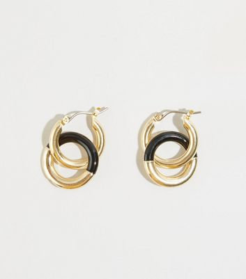 Black and Gold Mini Linked Hoop Earrings