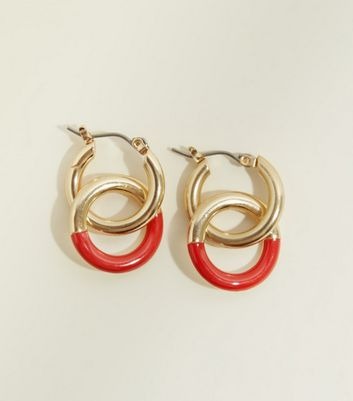 Red and Gold Mini Linked Hoop Earrings