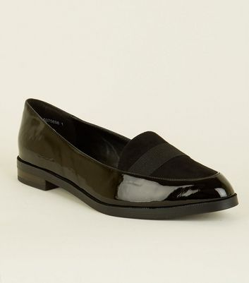Wide Fit Black Patent Contrast Fabric Loafers