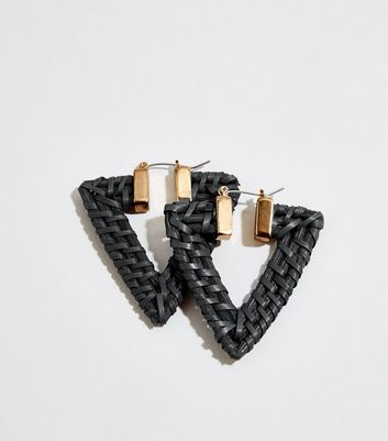 Black Raffia Triangle Hoop Earrings
