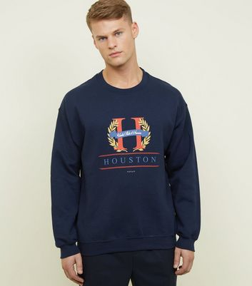 Navy Houston Logo Front Graphic Sweatshirt