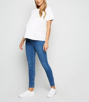 Maternity Blue Mid Wash Under Bump Jeggings