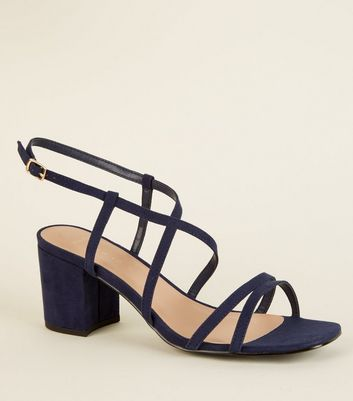 Wide Fit Navy Suedette Strappy Heels