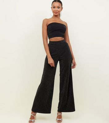 Black Glitter Wide Leg Trousers