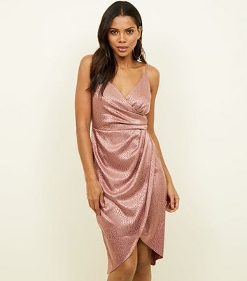 Pink Satin Leopard Print Wrap Dress