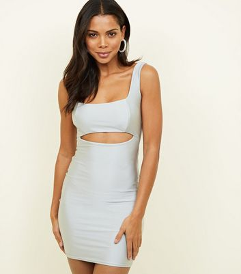 Grey Cut-Out Bodycon Dress