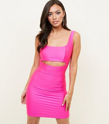 Bright Pink Cut Out Bodycon Dress