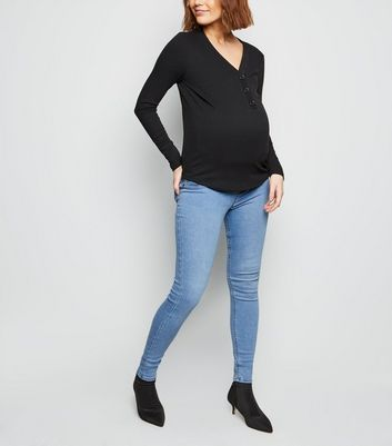 Maternity Blue Bleach Wash Over Bump Jeggings