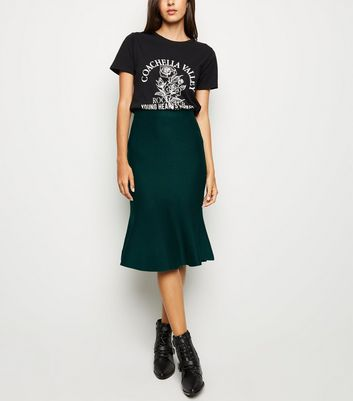 Dark Green Knit Fishtail Hem Midi Skirt