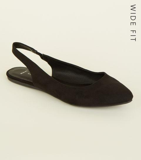 e3bab28b7a1b ... Wide Fit Black Suedette Flat Slingback Flats ...