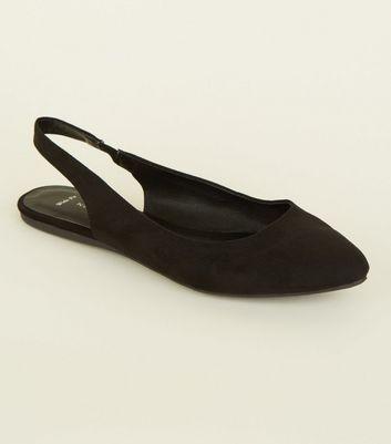 Wide Fit Black Suedette Flat Slingback
