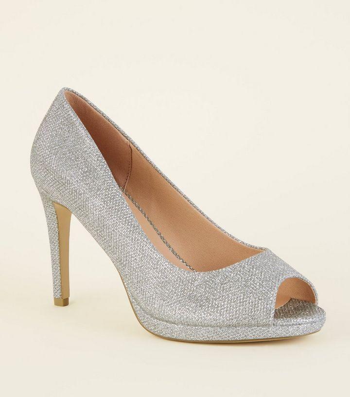 3ed07fe4421 Wide Fit Silver Glitter Peep Toe Court Heels