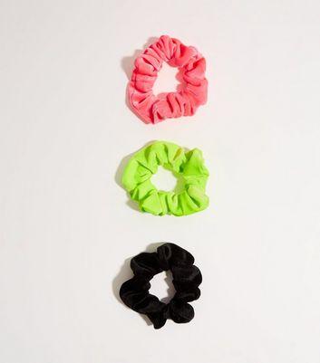 3 Pack Multicoloured Neon Velvet Scrunchies by New Look
