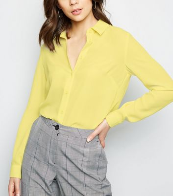 Yellow Crepe Long Sleeve Shirt