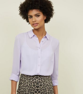Lilac Crepe Long Sleeve Shirt