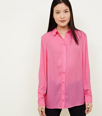 Bright  Pink Crepe Long Sleeve Shirt