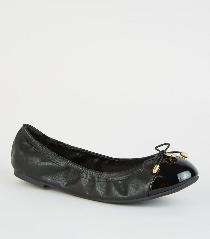 f2f958a167e Wide Fit Black Patent Toe Elasticated Ballet Pumps Add to Saved Items  Remove from Saved Items