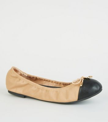Wide Fit Camel Patent Toe Elasticated Ballet Pumps