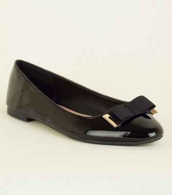 Wide Fit Bow Front Patent Leather-Look Pumps