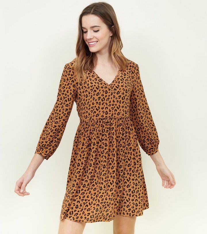 8df7abb65261 Brown Leopard Print Tunic Smock Dress | New Look