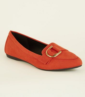 Wide Fit Orange D-Ring Loafers
