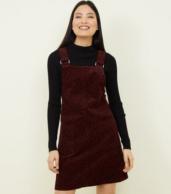 Burgundy Leopard Print Corduroy Pinafore Dress