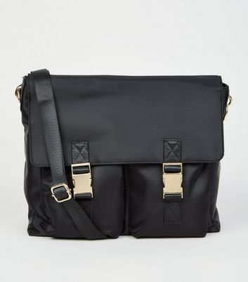 Black High Shine Messenger Bag