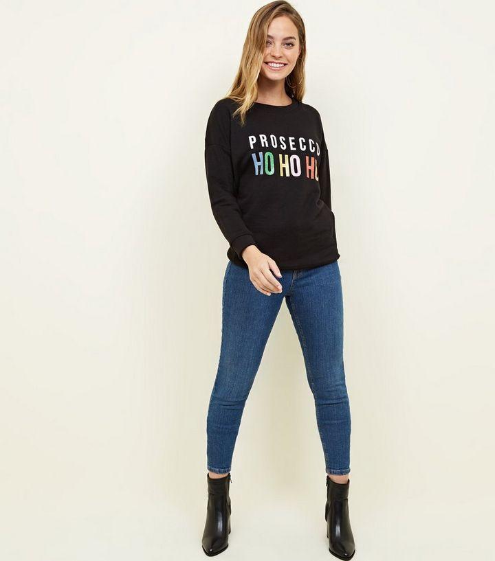 8a3fae529964 ... Petite Black Prosecco Ho Ho Ho Christmas Sweatshirt. ×. ×. ×. Shop the  look