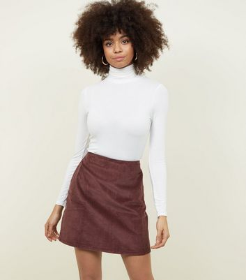 Rust Corduroy Pocket Side Mini Skirt