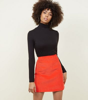 Red Corduroy Pocket Side Mini Skirt