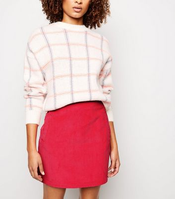Pink Corduroy Pocket Side Mini Skirt