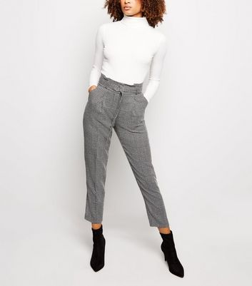 Grey Check D-Ring Belt Tapered Trousers