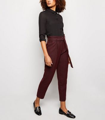 Burgundy Check D Ring Belt Tapered Trousers by New Look
