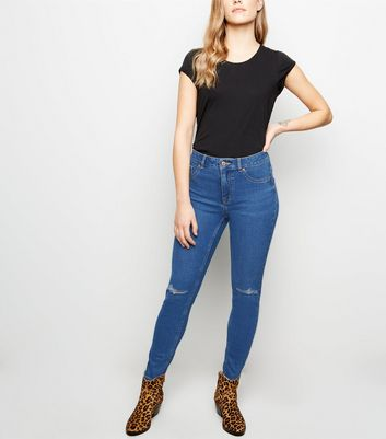 Petite Blue Mid Rise Ripped Skinny Jeans