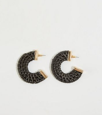 Black Raffia Hoop Earrings