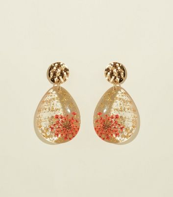 Burgundy Dried Flower Gold Hammered Drop Earrings