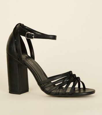 Black Leather-Look Woven Strap Block Heels