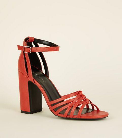 20c8897e7fc ... Orange Leather-Look Woven Strap Block Heels ...
