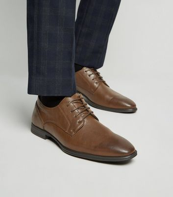 Dark Brown Leather-Look Lace Up Formal Shoes